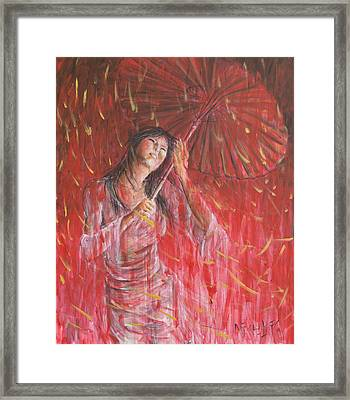 Red Geisha Rain Storm Framed Print by Nik Helbig