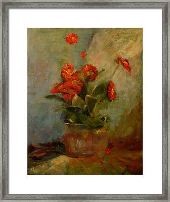 sold Red Gerberas Framed Print by Irena  Jablonski