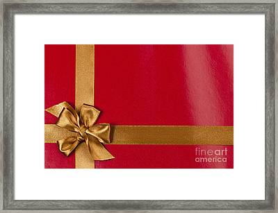 Red Gift Background With Gold Ribbon Framed Print