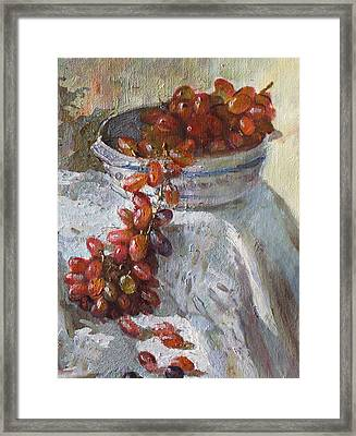 Red Grapes Framed Print by Ylli Haruni