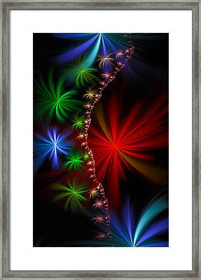 Red Green And Blue Fractal Stars Framed Print by Matthias Hauser