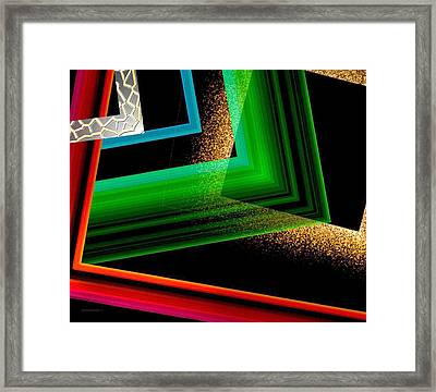 Red Green And Brown Abstract Art Framed Print by Mario Perez