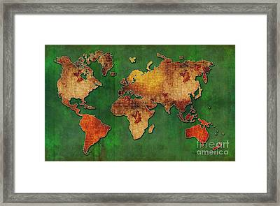 Red Green Floral Grunge Style World Map Pop Art Maps By Megan Duncanson Framed Print by Megan Duncanson