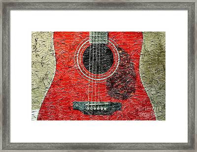 Red Guitar Center - Digital Painting - Music Framed Print by Barbara Griffin