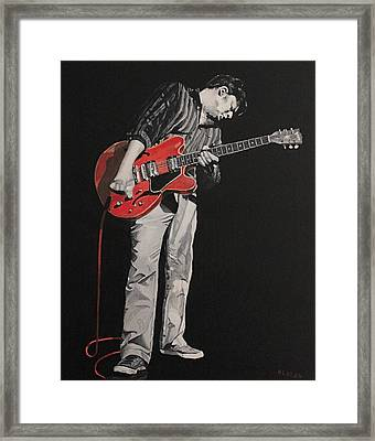 Red Guitar Framed Print by Patricio Lazen