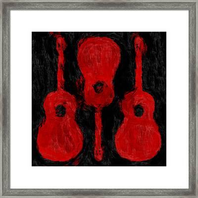 Red Guitars Framed Print by David G Paul