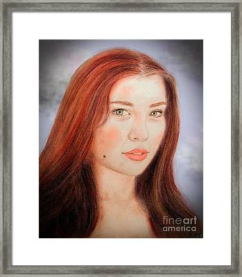 Red Hair And Blue Eyed Beauty With A Beauty Mark II Framed Print by Jim Fitzpatrick