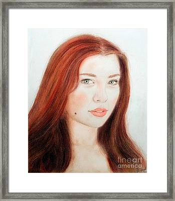 Red Hair And Blue Eyed Beauty With A Beauty Mark Framed Print by Jim Fitzpatrick
