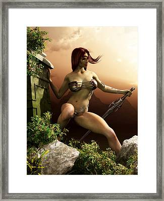 Red Haired Barbarian Woman Framed Print