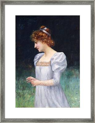 Red Haired Maiden Framed Print by David Lloyd Glover