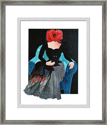 Red Head With Black Cat Framed Print by Eve Riser Roberts