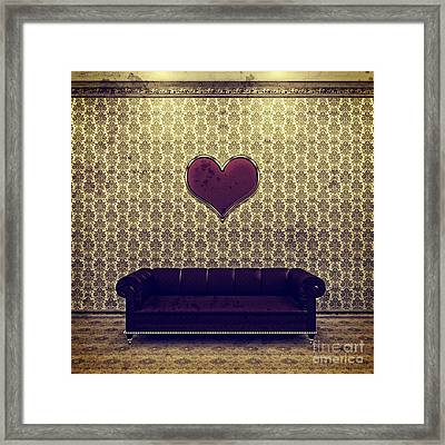 Red Heart And Purple Couch In A Gold Victorian Room Framed Print