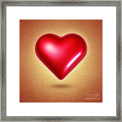 Red Heart Framed Print by Carlos Caetano