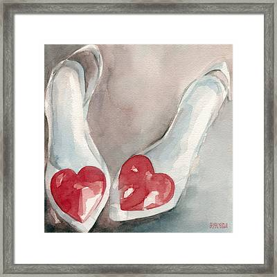 Red Heart Paintings Of Shoes Print Framed Print by Beverly Brown