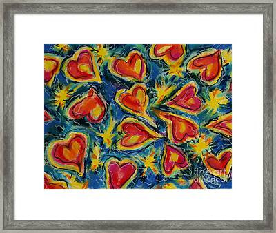 Red Hearts Dancing Framed Print by Kelly Athena