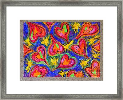 Red Hearts Framed Print by Kelly Athena
