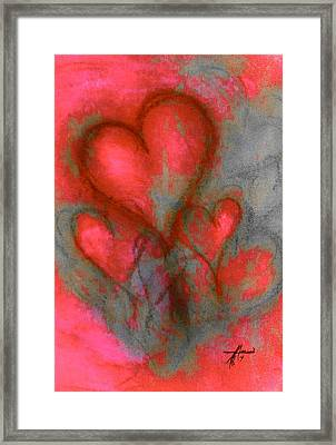 Red Hearts Framed Print