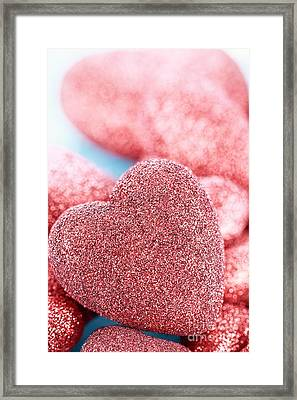 Red Hearts Framed Print by Stephanie Frey