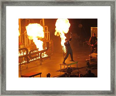 Red Heats Up Winterjam In Atlanta Framed Print by Aaron Martens
