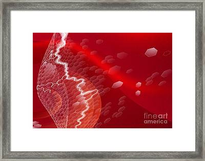 Red Hexagons Business Background Framed Print