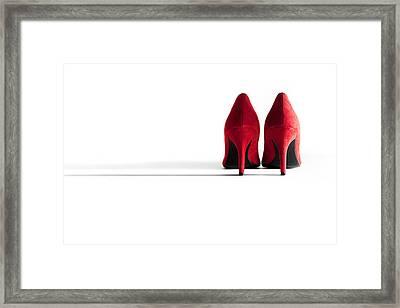Red High Heel Shoes Framed Print by Natalie Kinnear