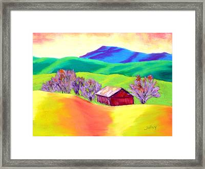 Framed Print featuring the painting Red Hill Barn by Nancy Jolley