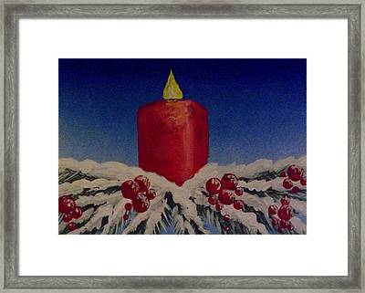 Red Holiday Candle Framed Print by Darren Robinson