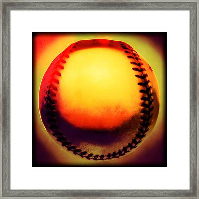 Red Hot Baseball Framed Print by Yo Pedro
