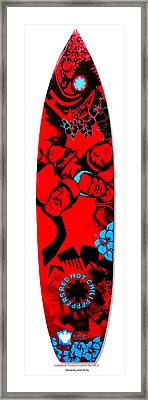 Red Hot Chili Peppers Surfboard Framed Print by SaxonLynn Arts