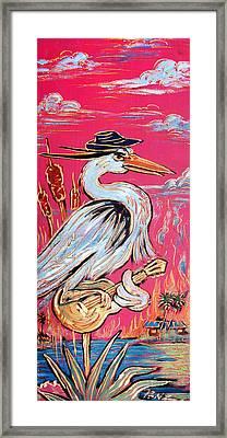 Red Hot Heron Blues Framed Print by Robert Ponzio