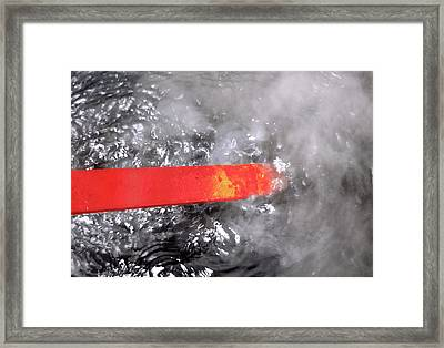 Red-hot Metal Being Quenched In Water Framed Print by Victor De Schwanberg
