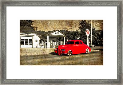 Red Hot Rod Cruising Route 66 Framed Print by Thomas Woolworth
