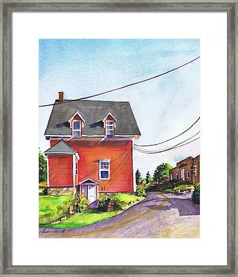 Red House Bass Harbor Framed Print by Susan Herbst