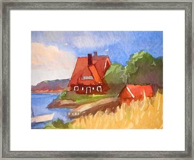 Red House By The Sea Framed Print