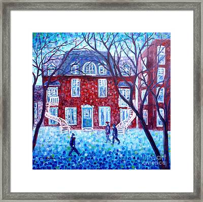 Red House In Montreal - Cityscape Framed Print