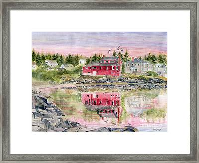 Red House Reflection Framed Print by Melly Terpening