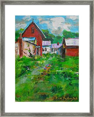 Red House Framed Print by Sun Sohovich