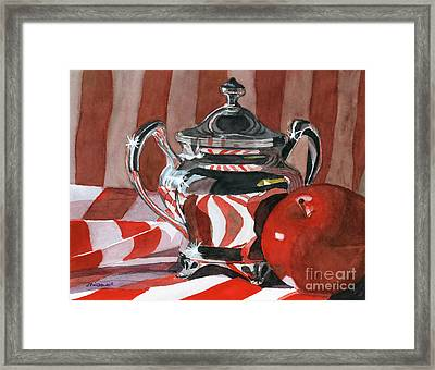 Red In Silver Framed Print by Lynne Reichhart