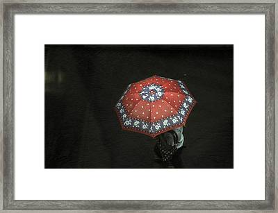 Red In The Dark Framed Print by Achmad Bachtiar