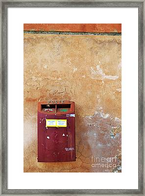 Red Italian  Mailbox On Ochre Wall Framed Print by Sami Sarkis