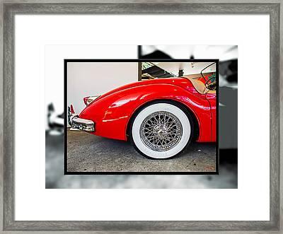Red Jaguar Xk 140 Framed Print by SM Shahrokni
