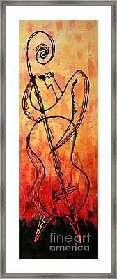 Red Jazz 3 Framed Print by Leon Zernitsky