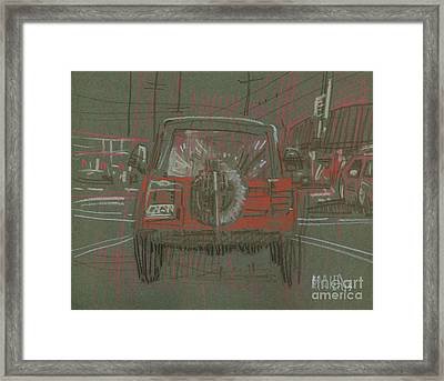 Framed Print featuring the drawing Red Jeep by Donald Maier