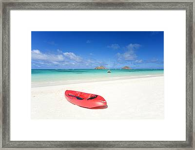 Red Kayak At Lanikai Framed Print by M Swiet Productions