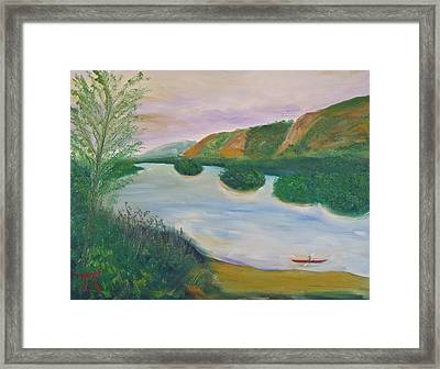 Red Kayak Framed Print by Troy Thomas