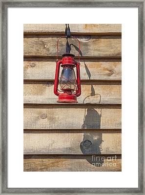 Framed Print featuring the photograph Red Kerosene Lantern by Bryan Mullennix