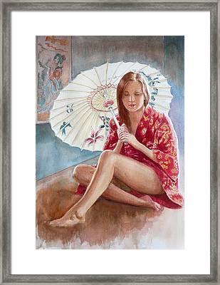 Red Kimono Framed Print by Tomas OMaoldomhnaigh