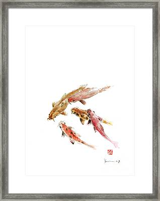 Red Koi Fish Fishes Orange Tangerine Caramel Brown Zodiac Pisces Watercolor Painting Framed Print by Johana Szmerdt