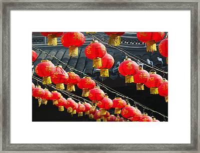 Red Lanterns At A Temple, Jade Buddha Framed Print