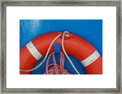 Red Life Belt On Blue Wall Framed Print by Ulrich Kunst And Bettina Scheidulin